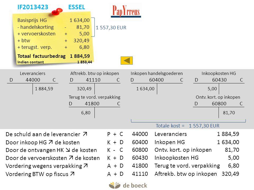 Basisprijs HG 1 634,00 - handelskorting- 81,70 + vervoerskosten+5,00 + btw+320,49 + terugst. verp.+6,80 Totaal factuurbedrag 1 884,59 Indien contant1