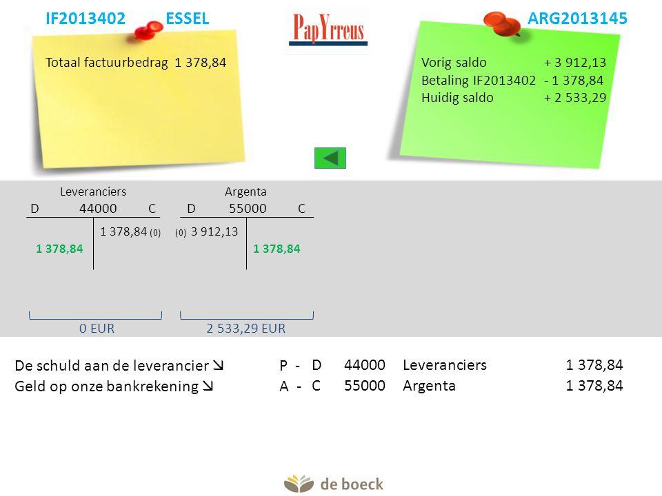 Totaal factuurbedrag1 378,84 Argenta D 55000 C Leveranciers D 44000 C (0) 3 912,131 378,84 (0) De schuld aan de leverancier  P -D44000 Leveranciers1