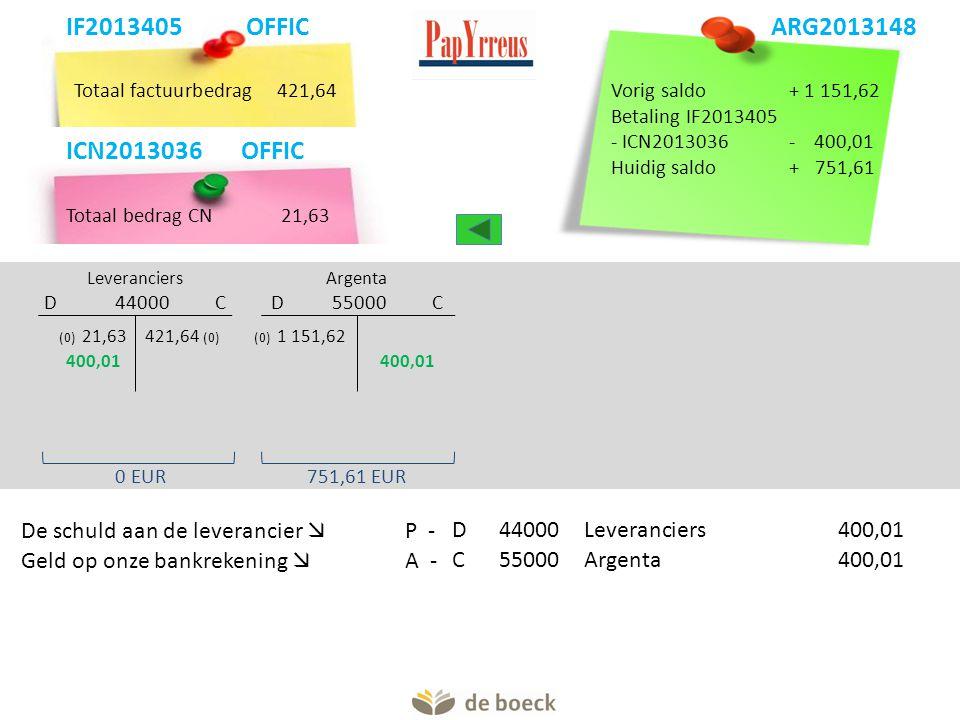 Totaal factuurbedrag421,64 Argenta D 55000 C Leveranciers D 44000 C (0) 1 151,62421,64 (0) De schuld aan de leverancier  P -D44000 Leveranciers400,01 Geld op onze bankrekening  A -C55000Argenta400,01 Vorig saldo+ 1 151,62 Betaling IF2013405 - ICN2013036- 400,01 Huidig saldo+ 751,61 751,61 EUR0 EUR IF2013405 OFFIC ARG2013148 400,01 ARG2013148 Totaal bedrag CN 21,63 ICN2013036 OFFIC (0) 21,63