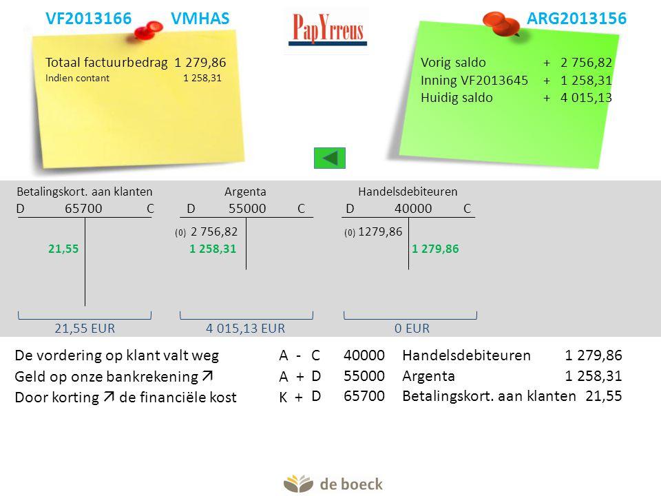 Totaal factuurbedrag1 279,86 Indien contant 1 258,31 Betalingskort. aan klanten D 65700 C Argenta D 55000 C Handelsdebiteuren D 40000 C 21,55 EUR (0)