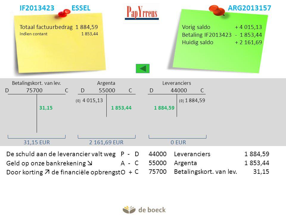 Totaal factuurbedrag1 884,59 Indien contant1 853,44 Betalingskort. van lev. D 75700 C Argenta D 55000 C Leveranciers D 44000 C 31,15 EUR (0) 4 015,13