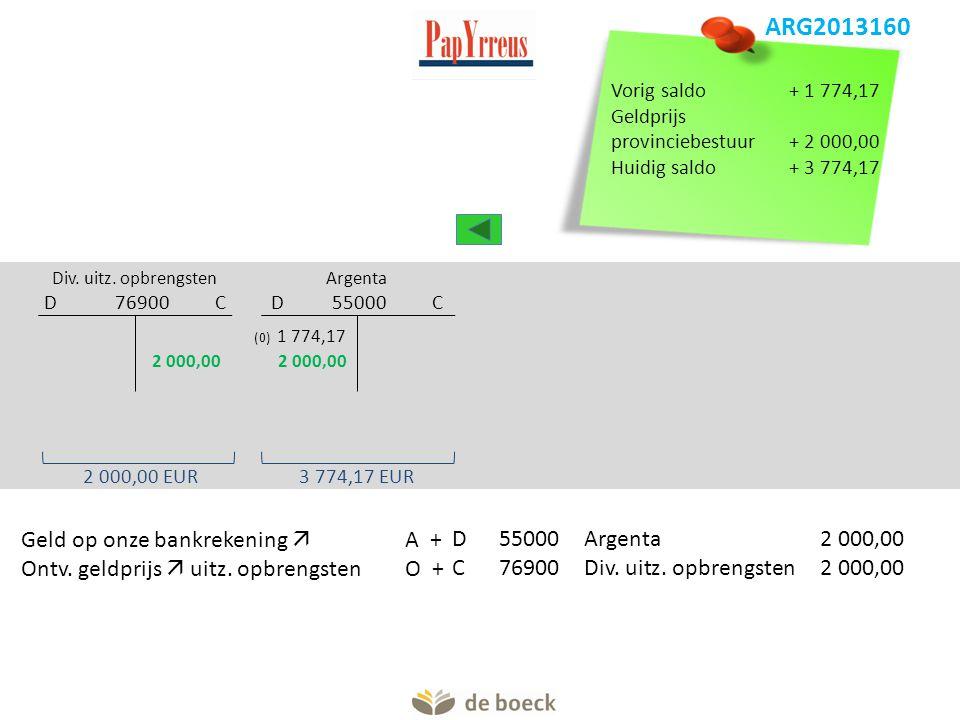 Argenta D 55000 C Div. uitz. opbrengsten D 76900 C (0) 1 774,17 Ontv. geldprijs  uitz. opbrengstenO +C76900Div. uitz. opbrengsten2 000,00 Geld op onz