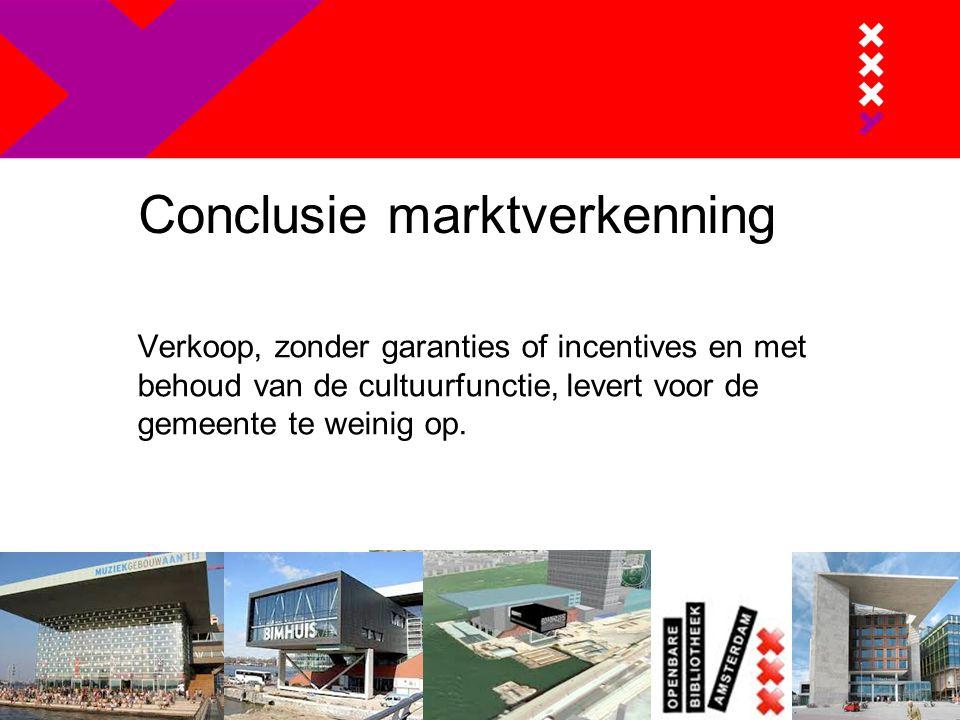 Conclusie marktverkenning Verkoop, zonder garanties of incentives en met behoud van de cultuurfunctie, levert voor de gemeente te weinig op.