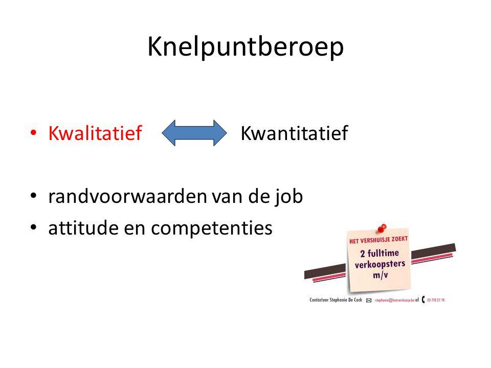 Knelpuntberoep • Kwalitatief Kwantitatief • randvoorwaarden van de job • attitude en competenties