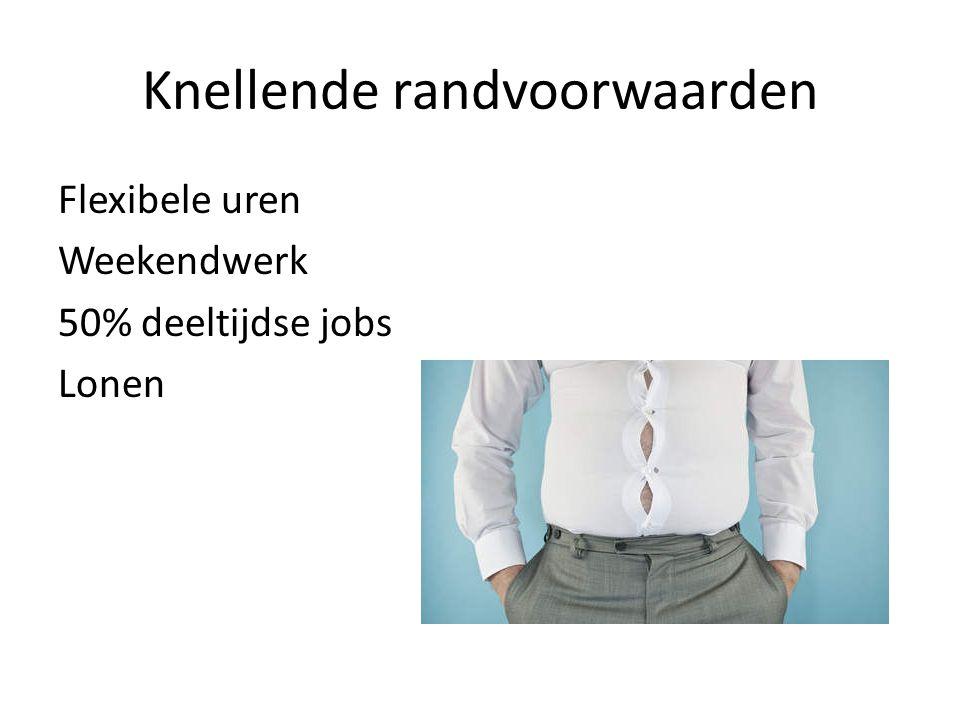 Knellende randvoorwaarden Flexibele uren Weekendwerk 50% deeltijdse jobs Lonen
