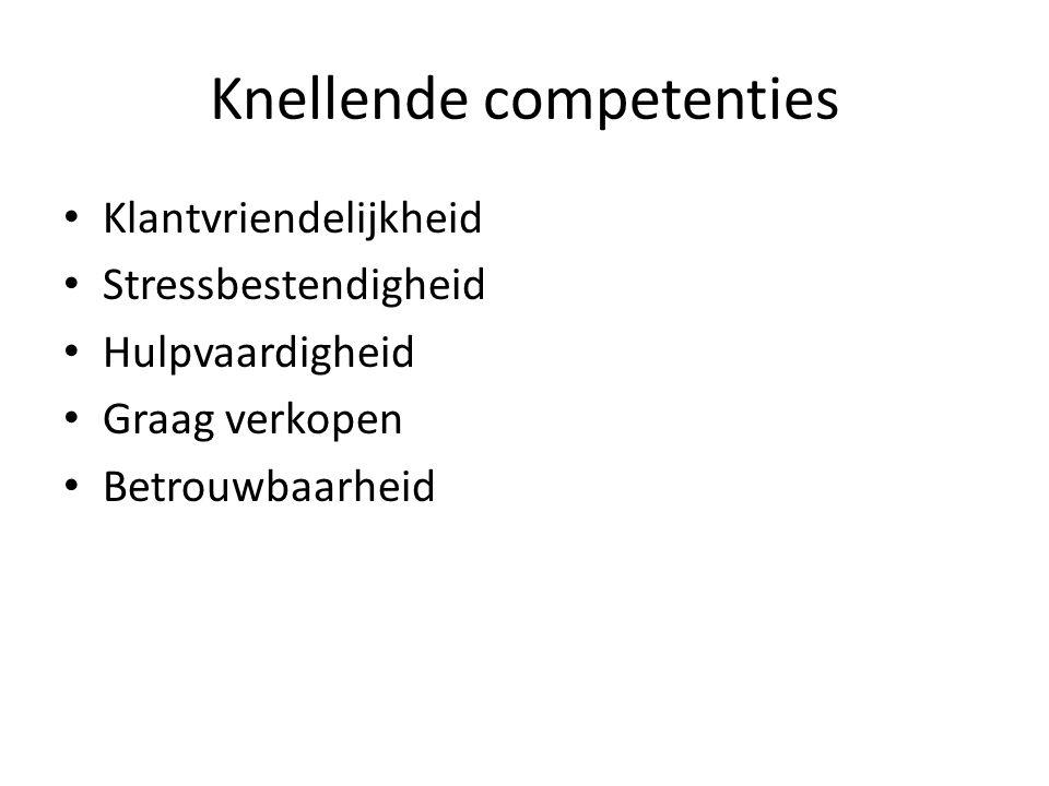 Knellende competenties • Klantvriendelijkheid • Stressbestendigheid • Hulpvaardigheid • Graag verkopen • Betrouwbaarheid