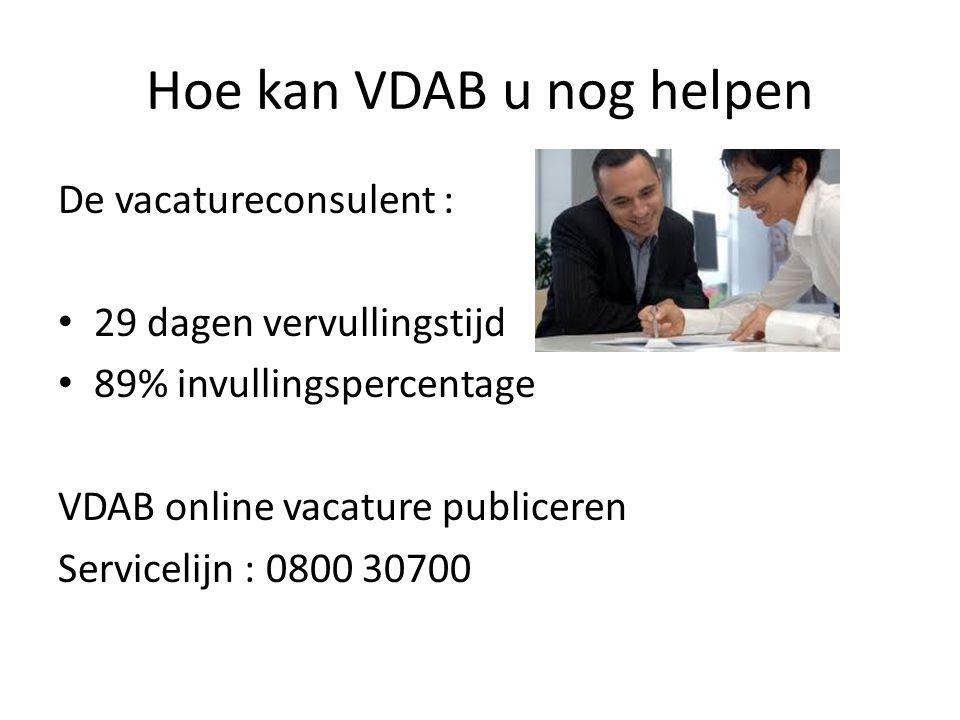 Hoe kan VDAB u nog helpen De vacatureconsulent : • 29 dagen vervullingstijd • 89% invullingspercentage VDAB online vacature publiceren Servicelijn : 0800 30700