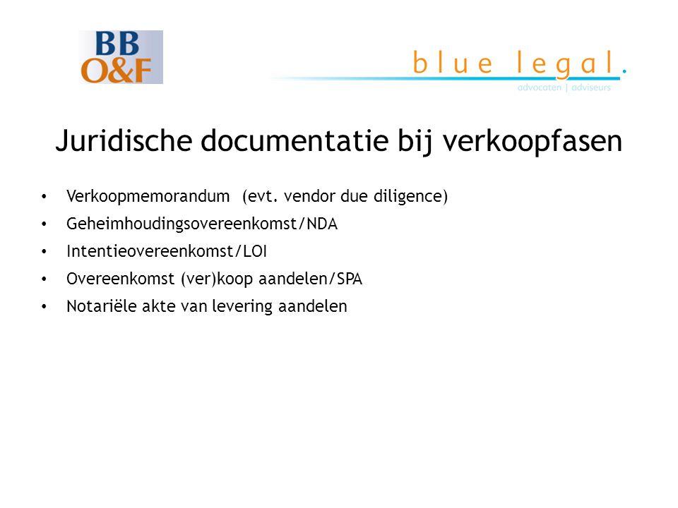 Juridische documentatie bij verkoopfasen • Verkoopmemorandum (evt. vendor due diligence) • Geheimhoudingsovereenkomst/NDA • Intentieovereenkomst/LOI •
