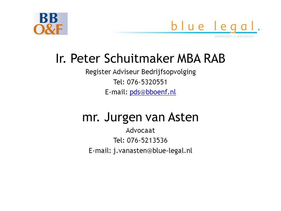 Ir. Peter Schuitmaker MBA RAB Register Adviseur Bedrijfsopvolging Tel: 076-5320551 E-mail: pds@bboenf.nlpds@bboenf.nl mr. Jurgen van Asten Advocaat Te