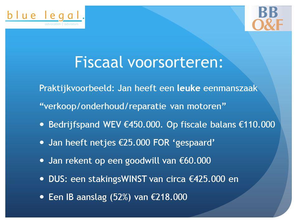 """Fiscaal voorsorteren: Praktijkvoorbeeld: Jan heeft een leuke eenmanszaak """"verkoop/onderhoud/reparatie van motoren""""  Bedrijfspand WEV €450.000. Op fis"""