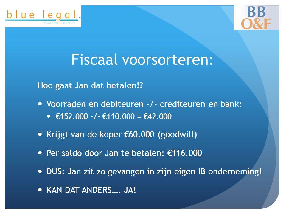 Fiscaal voorsorteren: Hoe gaat Jan dat betalen!?  Voorraden en debiteuren -/- crediteuren en bank:  €152.000 -/- €110.000 = €42.000  Krijgt van de