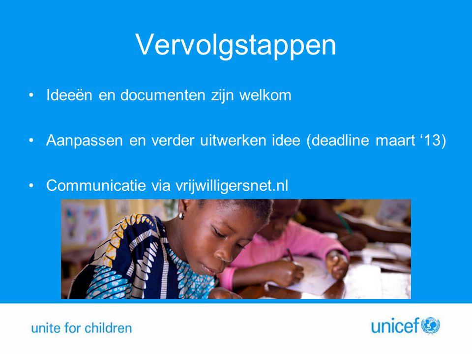 Vervolgstappen •Ideeën en documenten zijn welkom •Aanpassen en verder uitwerken idee (deadline maart '13) •Communicatie via vrijwilligersnet.nl