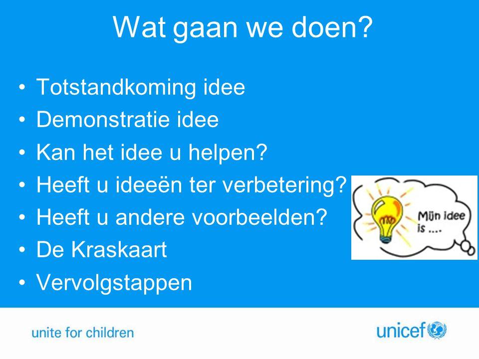 Totstandkoming 'Wat kunt u doen voor UNICEF' •Gesprekken met vrijwilligers •Gesprekken met medewerkers van UNICEF NL •Best Practices en de ondersteuning hierbij door UNICEF NL in kaart gebracht •Behoefte vertaald naar 'Wat kunt u doen voor UNICEF'