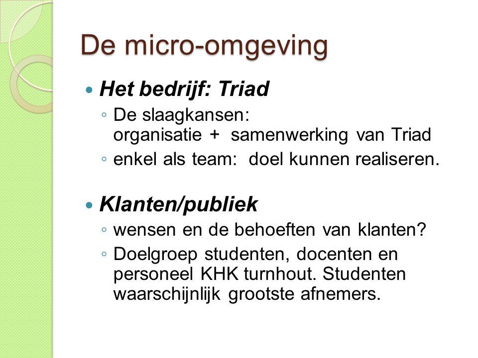 De micro-omgeving  Het bedrijf: Triad ◦ De slaagkansen: organisatie + samenwerking van Triad ◦ enkel als team: doel kunnen realiseren.  Klanten/publ