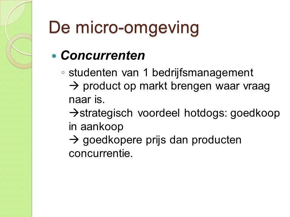 De micro-omgeving  Concurrenten ◦ studenten van 1 bedrijfsmanagement  product op markt brengen waar vraag naar is.  strategisch voordeel hotdogs: g