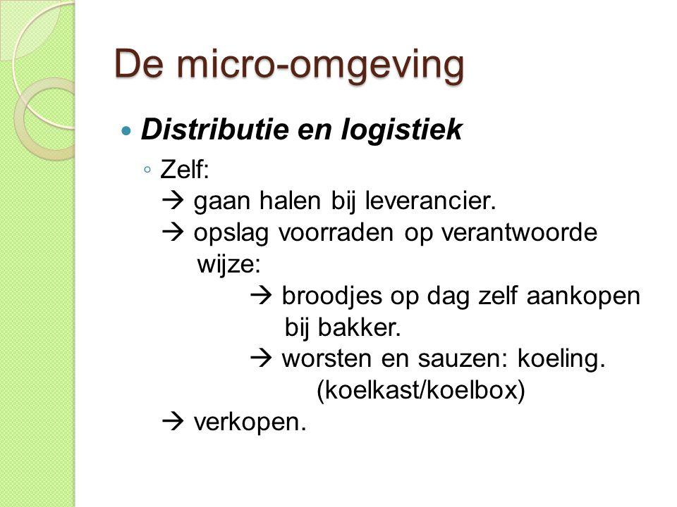 De micro-omgeving  Distributie en logistiek ◦ Zelf:  gaan halen bij leverancier.  opslag voorraden op verantwoorde wijze:  broodjes op dag zelf aa