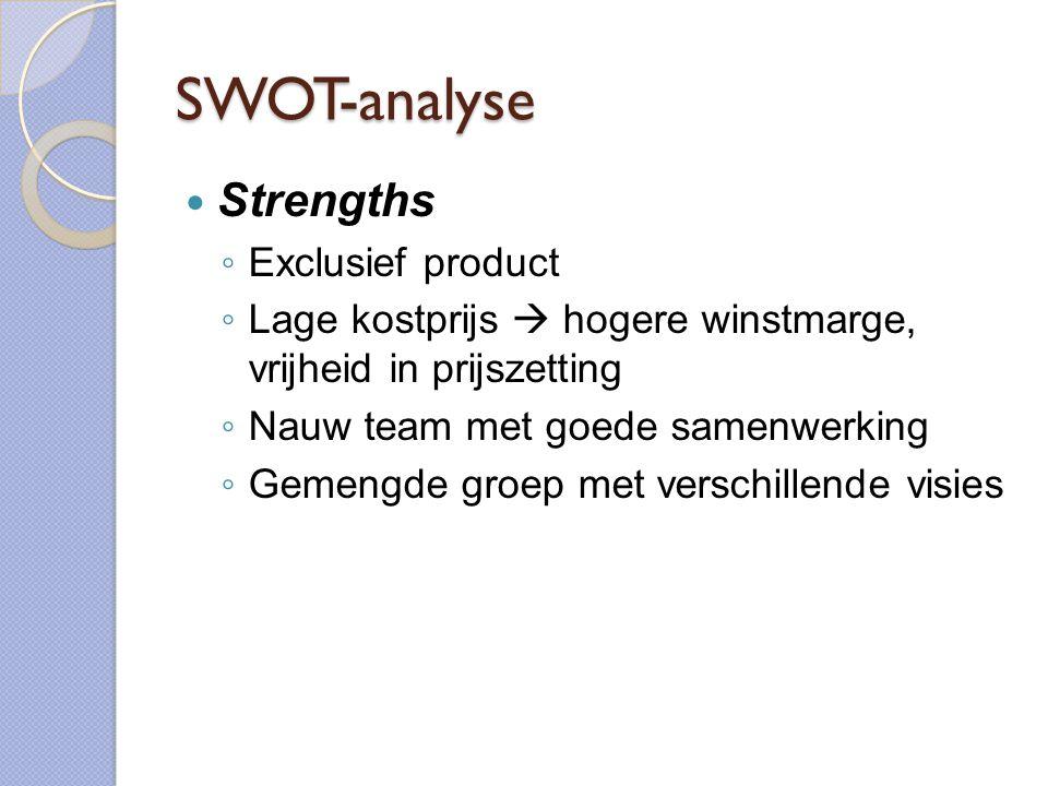 SWOT-analyse  Strengths ◦ Exclusief product ◦ Lage kostprijs  hogere winstmarge, vrijheid in prijszetting ◦ Nauw team met goede samenwerking ◦ Gemengde groep met verschillende visies