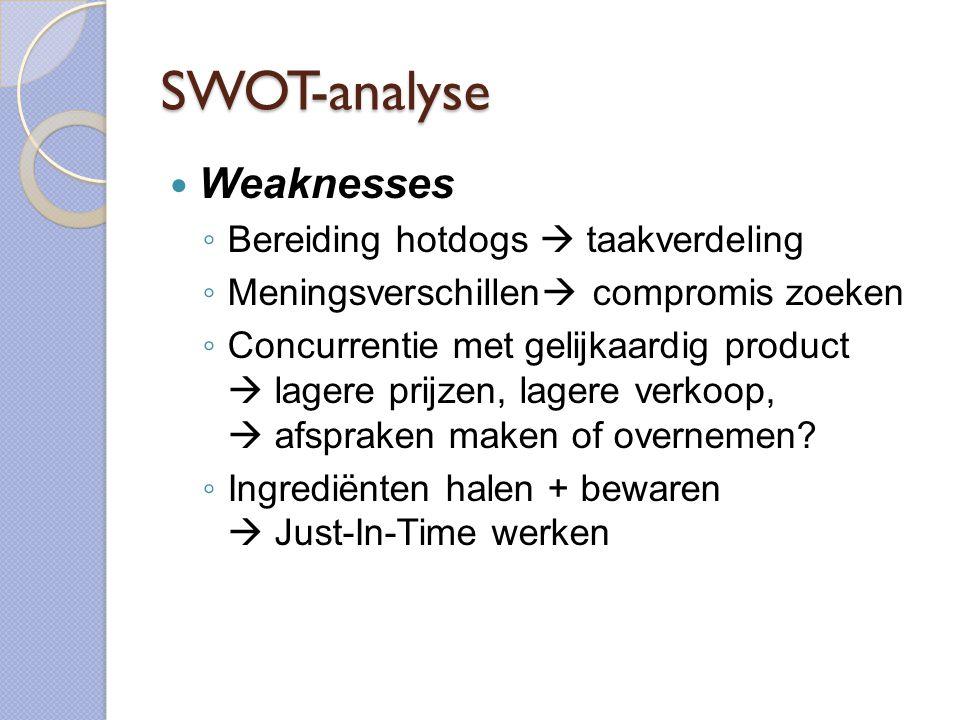 SWOT-analyse  Weaknesses ◦ Bereiding hotdogs  taakverdeling ◦ Meningsverschillen  compromis zoeken ◦ Concurrentie met gelijkaardig product  lagere prijzen, lagere verkoop,  afspraken maken of overnemen.