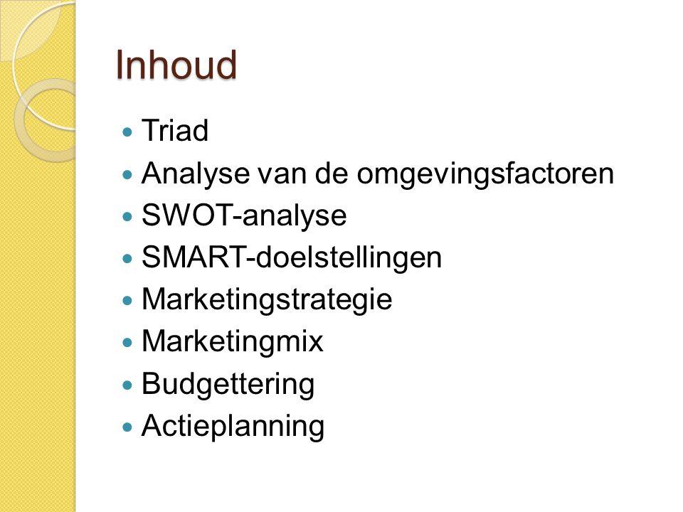 Triad  Wie.◦ Studenten 1 ste jaar bedrijfsmanagement ◦ Coach: student 2 Marketing  Wat.