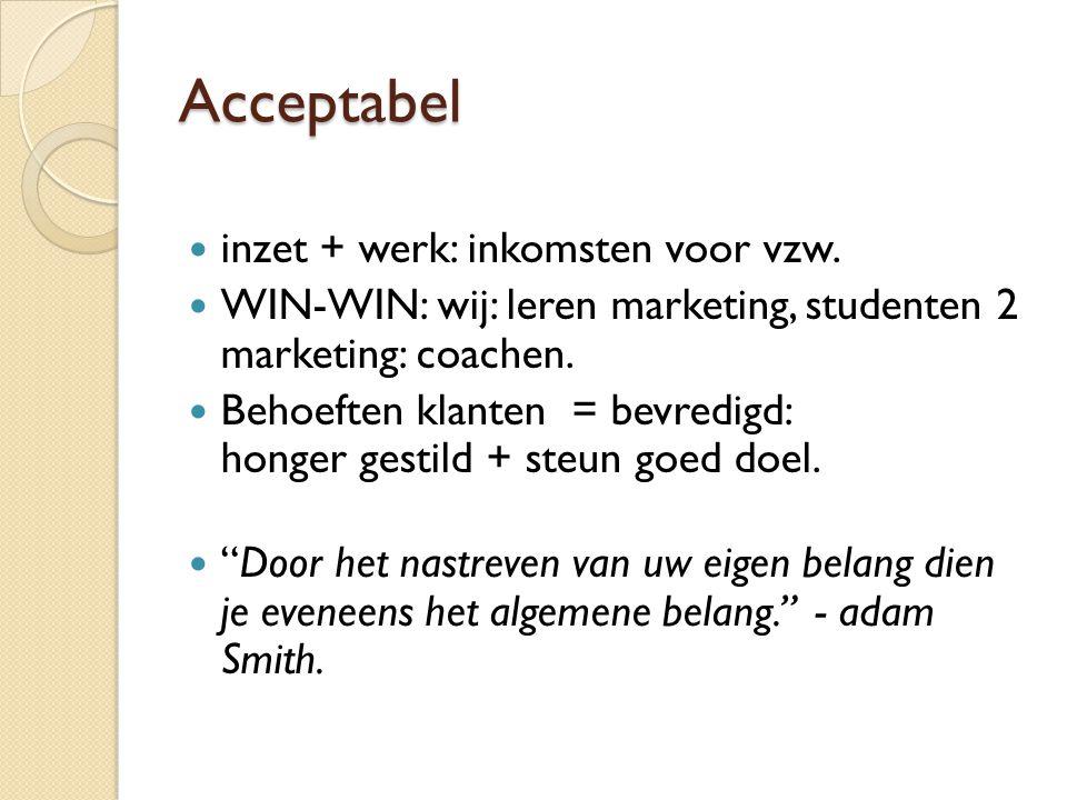 Acceptabel  inzet + werk: inkomsten voor vzw.  WIN-WIN: wij: leren marketing, studenten 2 marketing: coachen.  Behoeften klanten = bevredigd: honge