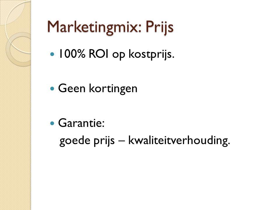 Marketingmix: Prijs  100% ROI op kostprijs.  Geen kortingen  Garantie: goede prijs – kwaliteitverhouding.
