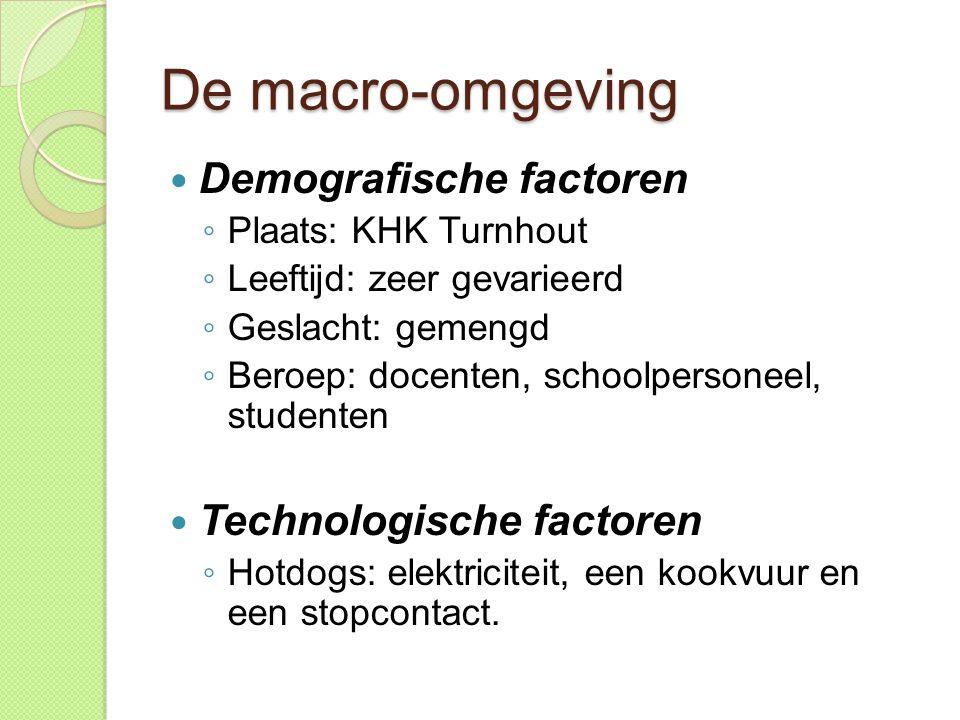 De macro-omgeving  Demografische factoren ◦ Plaats: KHK Turnhout ◦ Leeftijd: zeer gevarieerd ◦ Geslacht: gemengd ◦ Beroep: docenten, schoolpersoneel, studenten  Technologische factoren ◦ Hotdogs: elektriciteit, een kookvuur en een stopcontact.