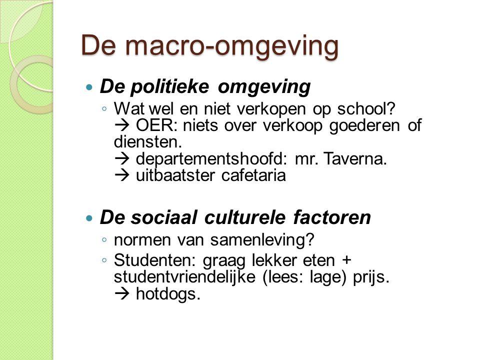 De macro-omgeving  De politieke omgeving ◦ Wat wel en niet verkopen op school.
