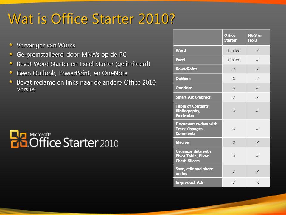 Vervanger van Works Vervanger van Works Ge-preïnstalleerd door MNA's op de PC Ge-preïnstalleerd door MNA's op de PC Bevat Word Starter en Excel Starter (gelimiteerd) Bevat Word Starter en Excel Starter (gelimiteerd) Geen Outlook, PowerPoint, en OneNote Geen Outlook, PowerPoint, en OneNote Bevat reclame en links naar de andere Office 2010 versies Bevat reclame en links naar de andere Office 2010 versies Wat is Office Starter 2010.