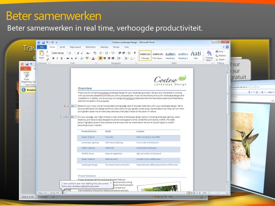 Travaillez ensemble en temps réel et Ecrire en Collaboration avec Word et OneNote Contrôlez plus votre e-mail avec la visualisation des conversations dans Outlook Partagez instantanément avec Broadcoast Slide Show (Diffusion de diaporama) dans PowerPoint Communiquez et partagez des fichiers avec des caractéristiques de sécurité Travaillez ensemble en temps réel et Ecrire en Collaboration avec Word et OneNote Contrôlez plus votre e-mail avec la visualisation des conversations dans Outlook Partagez instantanément avec Broadcoast Slide Show (Diffusion de diaporama) dans PowerPoint Communiquez et partagez des fichiers avec des caractéristiques de sécurité Connectez.