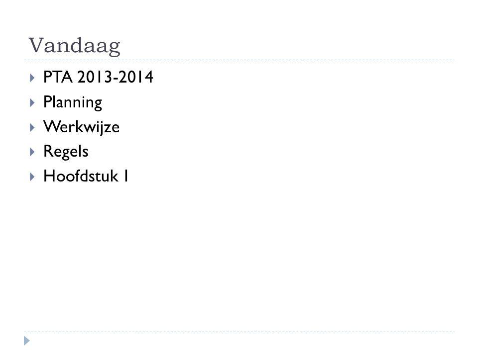 Vandaag  PTA 2013-2014  Planning  Werkwijze  Regels  Hoofdstuk 1