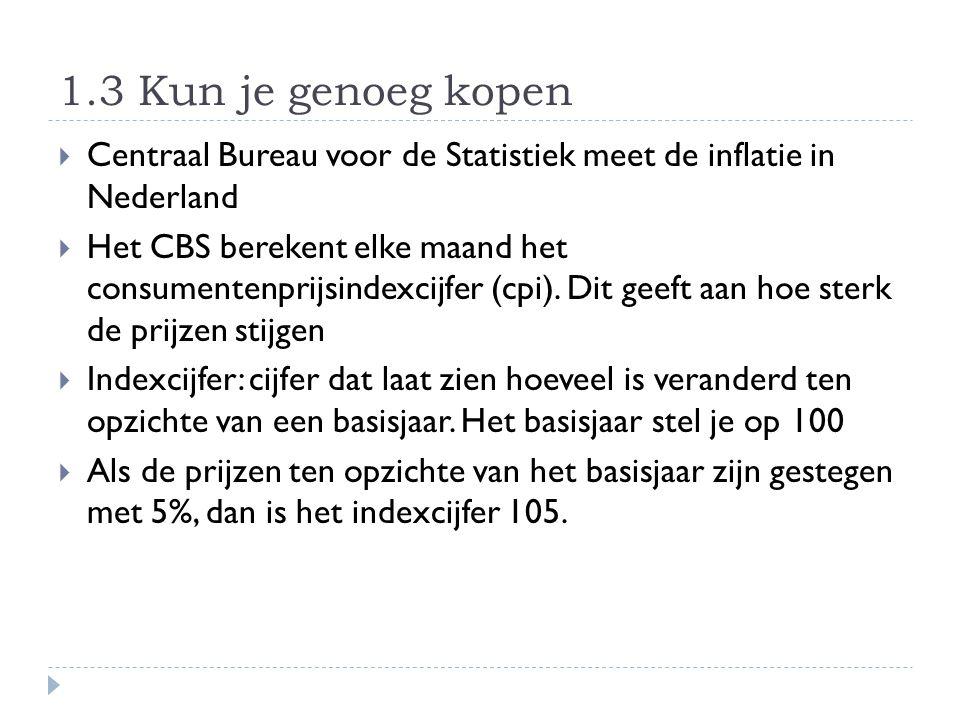 1.3 Kun je genoeg kopen  Centraal Bureau voor de Statistiek meet de inflatie in Nederland  Het CBS berekent elke maand het consumentenprijsindexcijf