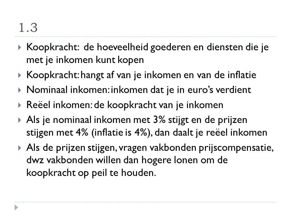 1.3  Koopkracht: de hoeveelheid goederen en diensten die je met je inkomen kunt kopen  Koopkracht: hangt af van je inkomen en van de inflatie  Nomi