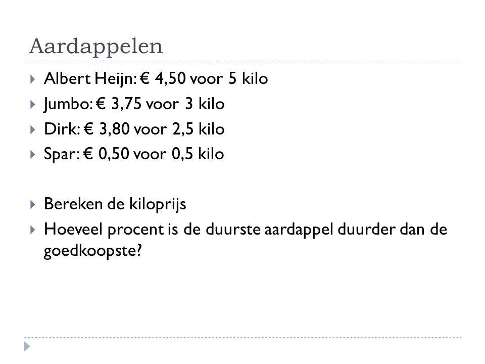 Aardappelen  Albert Heijn: € 4,50 voor 5 kilo  Jumbo: € 3,75 voor 3 kilo  Dirk: € 3,80 voor 2,5 kilo  Spar: € 0,50 voor 0,5 kilo  Bereken de kilo