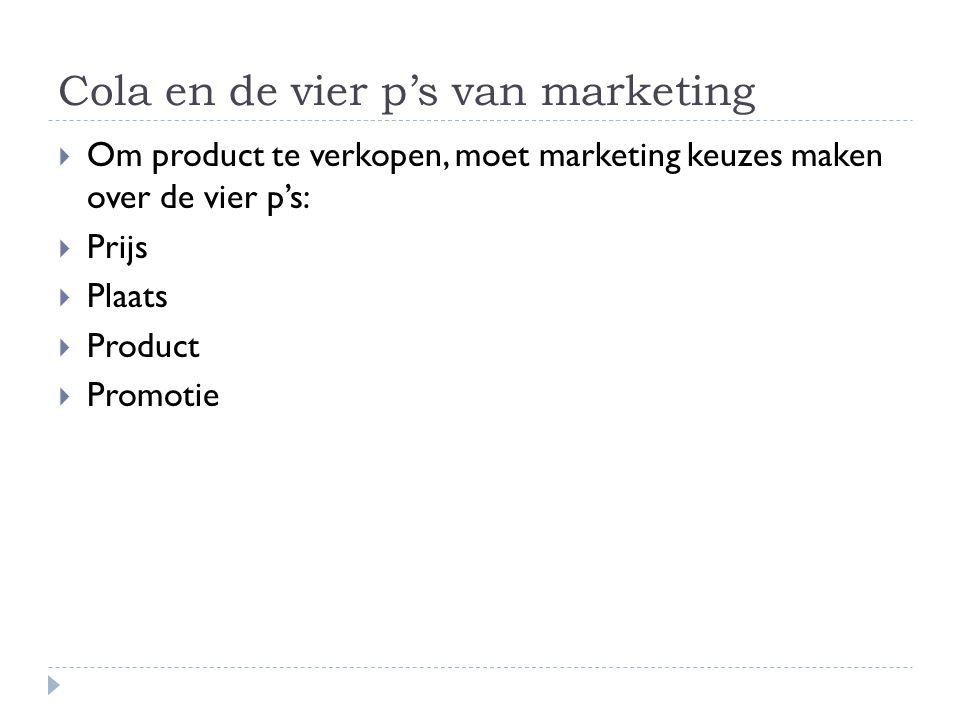 Cola en de vier p's van marketing  Om product te verkopen, moet marketing keuzes maken over de vier p's:  Prijs  Plaats  Product  Promotie