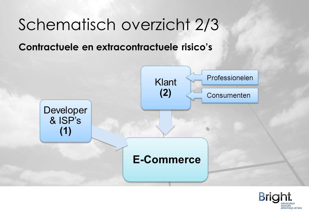 Schematisch overzicht 2/3 Developer & ISP's (1) Klant (2) Professionelen Consumenten Contractuele en extracontractuele risico's E-Commerce