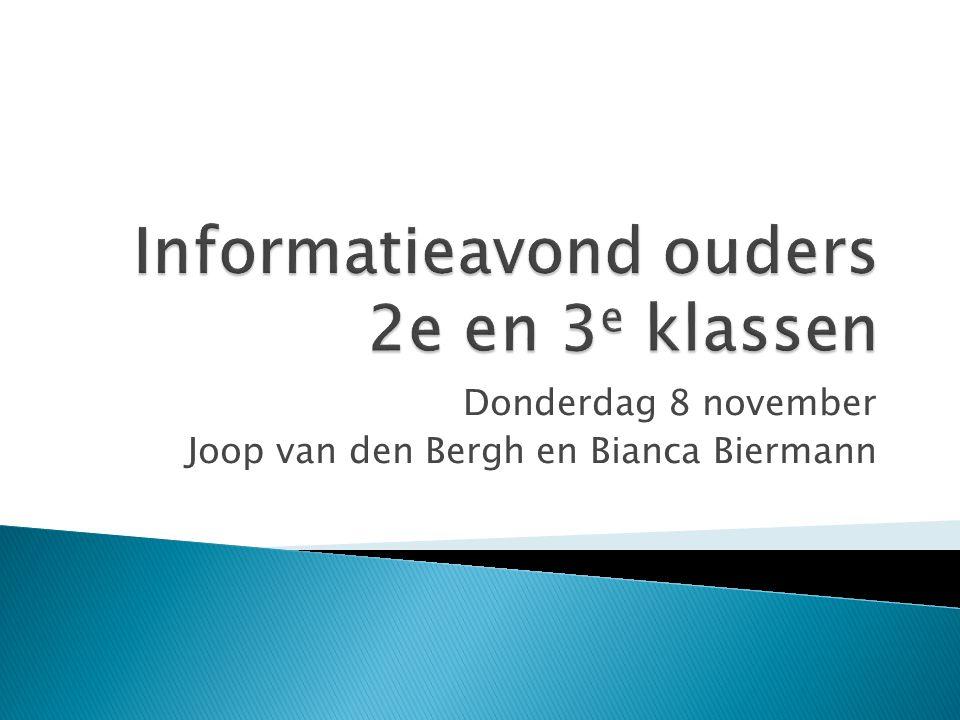 Donderdag 8 november Joop van den Bergh en Bianca Biermann