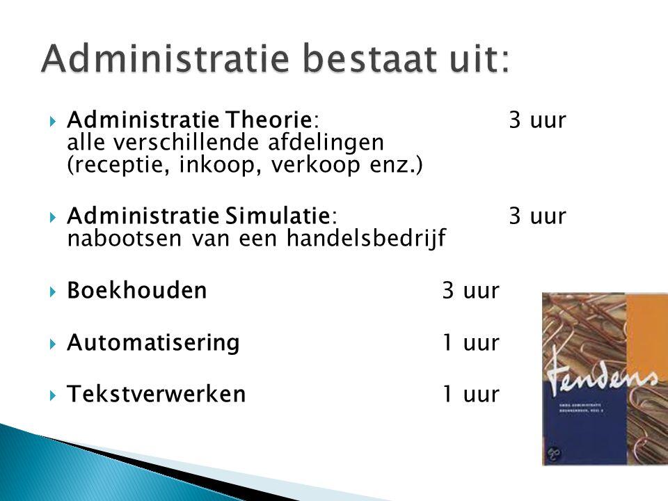  Administratie Theorie: 3 uur alle verschillende afdelingen (receptie, inkoop, verkoop enz.)  Administratie Simulatie: 3 uur nabootsen van een handelsbedrijf  Boekhouden 3 uur  Automatisering1 uur  Tekstverwerken1 uur