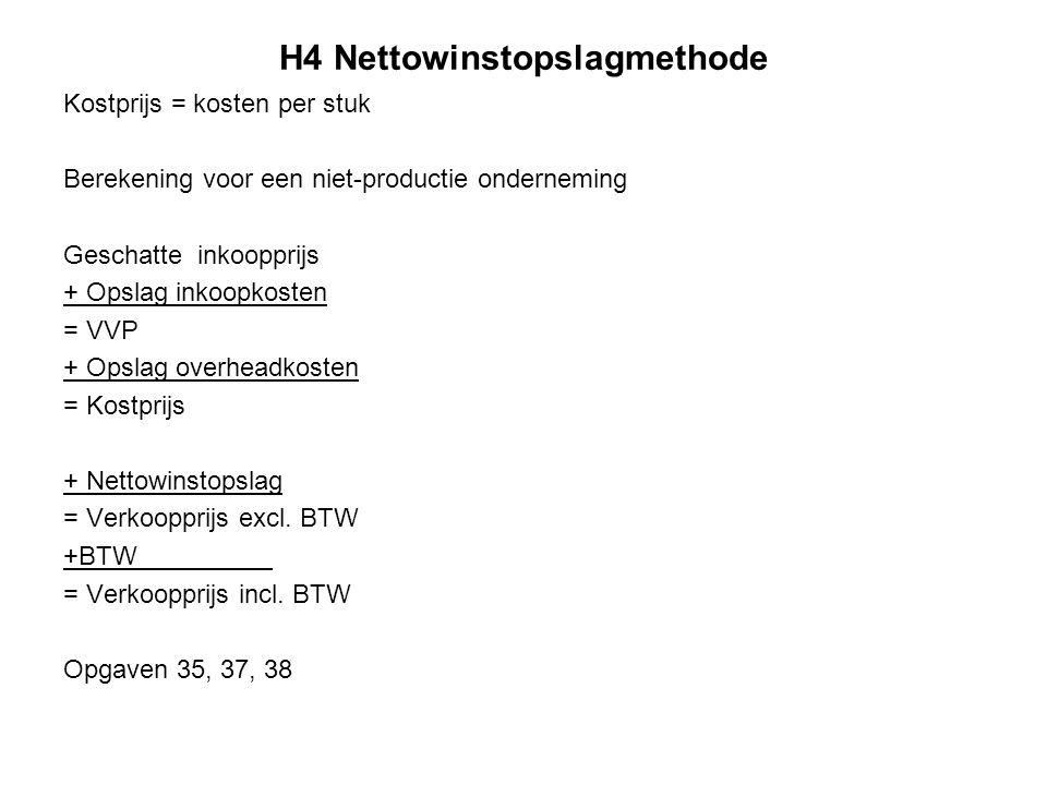 H4 Nettowinstopslagmethode Kostprijs = kosten per stuk Berekening voor een niet-productie onderneming Geschatte inkoopprijs + Opslag inkoopkosten = VV