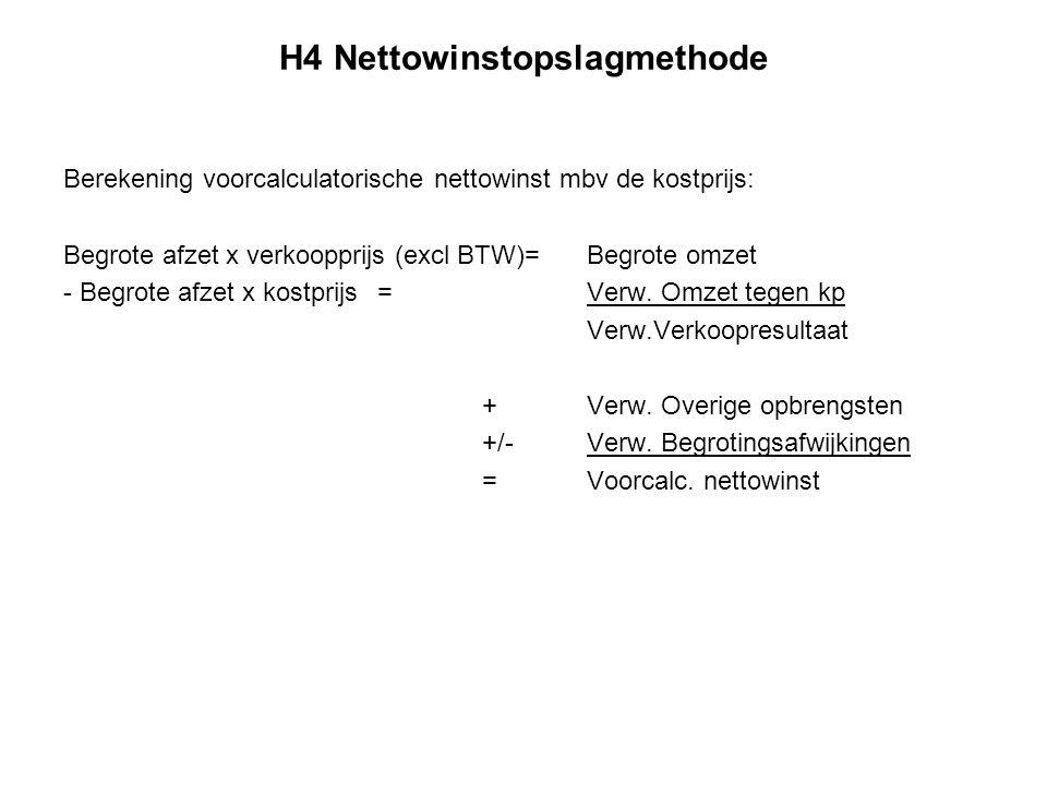 H4 Nettowinstopslagmethode Berekening voorcalculatorische nettowinst mbv de kostprijs: Begrote afzet x verkoopprijs (excl BTW)=Begrote omzet - Begrote