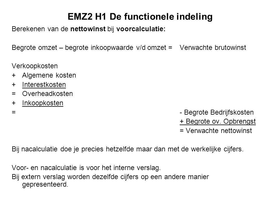 EMZ2 H1 De functionele indeling Berekenen van de nettowinst bij voorcalculatie: Begrote omzet – begrote inkoopwaarde v/d omzet =Verwachte brutowinst V