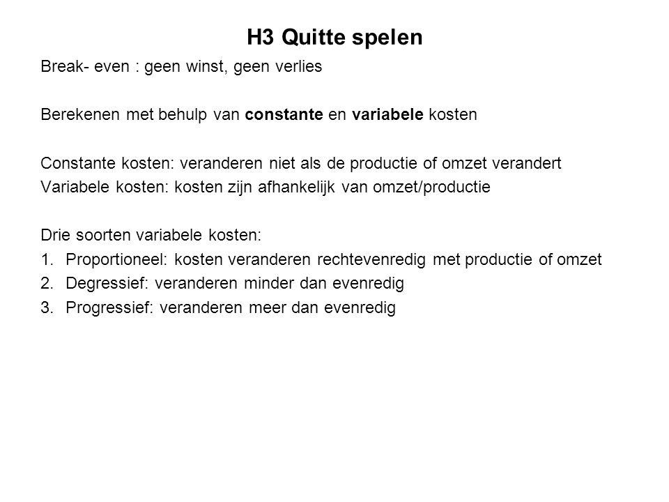 H3 Quitte spelen Break- even : geen winst, geen verlies Berekenen met behulp van constante en variabele kosten Constante kosten: veranderen niet als d