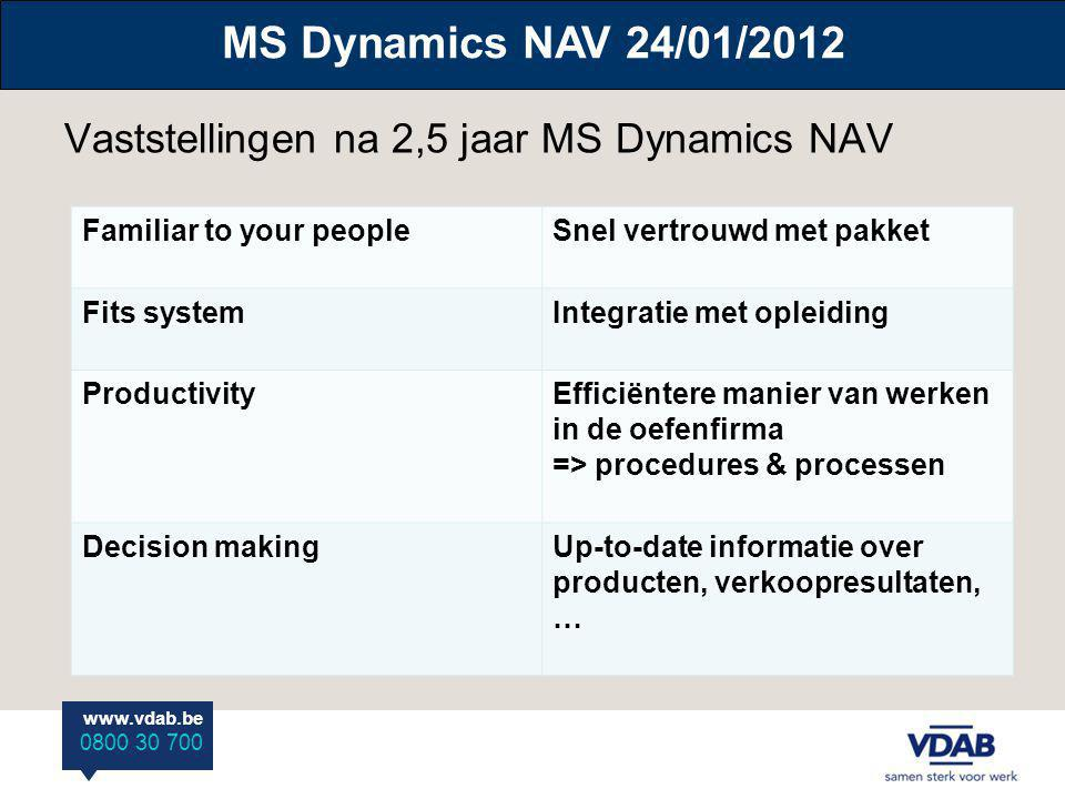 www.vdab.be 0800 30 700 Vaststellingen na 2,5 jaar MS Dynamics NAV MS Dynamics NAV 24/01/2012 Familiar to your peopleSnel vertrouwd met pakket Fits sy