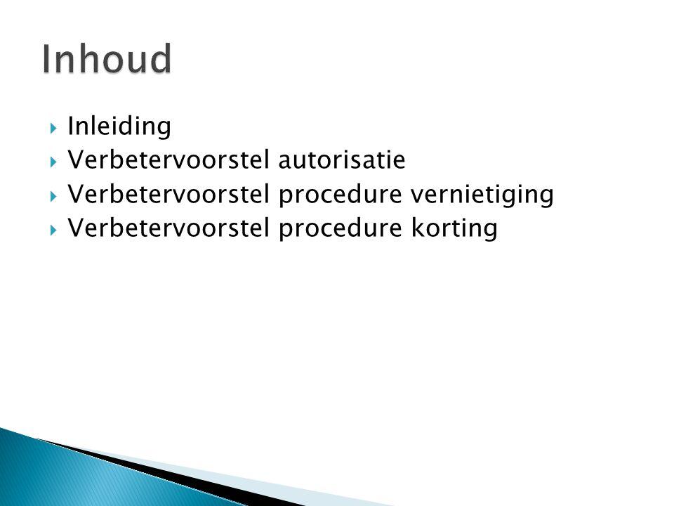  Inleiding  Verbetervoorstel autorisatie  Verbetervoorstel procedure vernietiging  Verbetervoorstel procedure korting