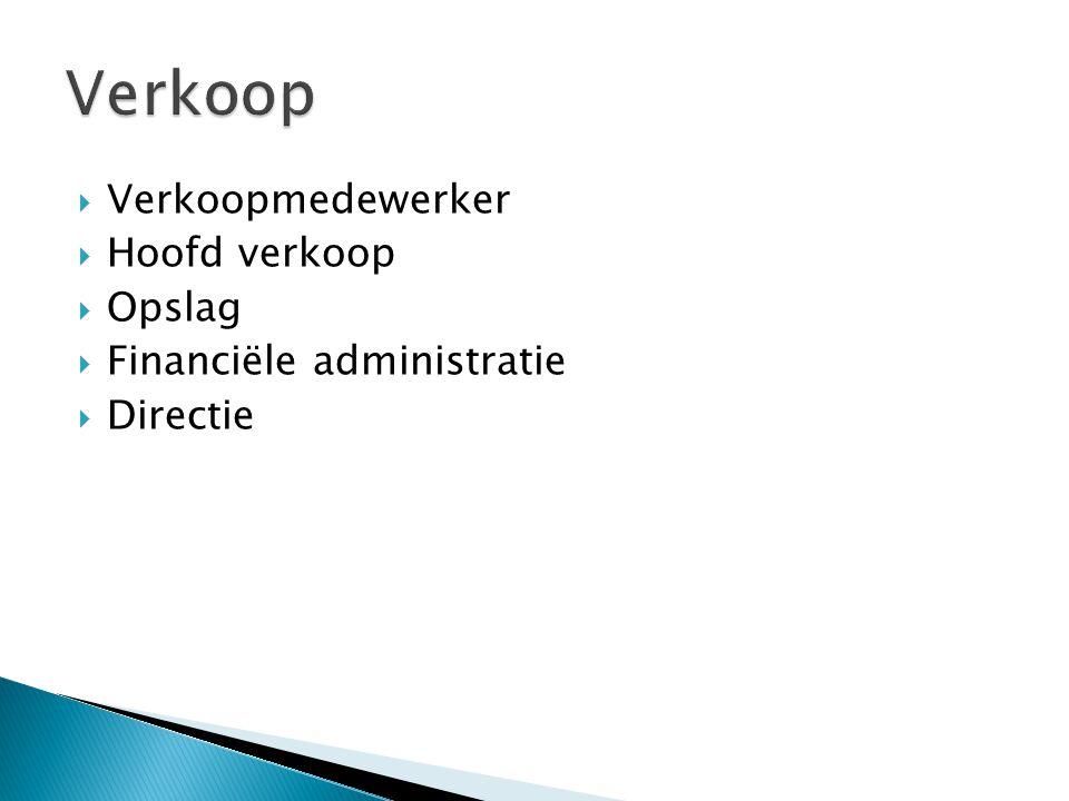  Verkoopmedewerker  Hoofd verkoop  Opslag  Financiële administratie  Directie