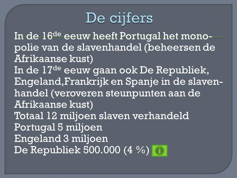 In de 16 de eeuw heeft Portugal het mono- polie van de slavenhandel (beheersen de Afrikaanse kust) In de 17 de eeuw gaan ook De Republiek, Engeland,Fr
