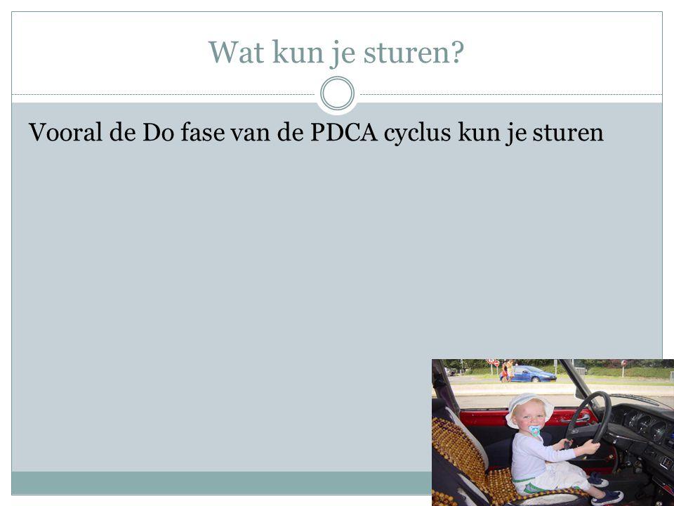 Wat kun je sturen? Vooral de Do fase van de PDCA cyclus kun je sturen