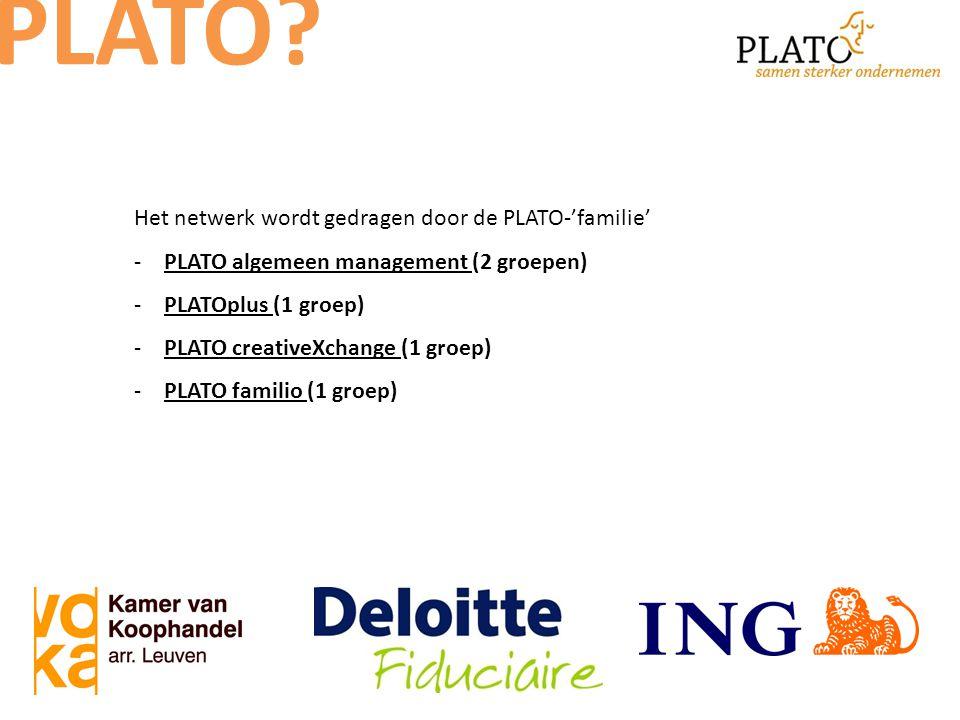 Het netwerk wordt gedragen door de PLATO-'familie' -PLATO algemeen management (2 groepen) -PLATOplus (1 groep) -PLATO creativeXchange (1 groep) -PLATO familio (1 groep) PLATO