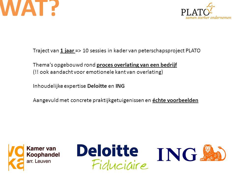 Traject van 1 jaar => 10 sessies in kader van peterschapsproject PLATO Thema's opgebouwd rond proces overlating van een bedrijf (!.