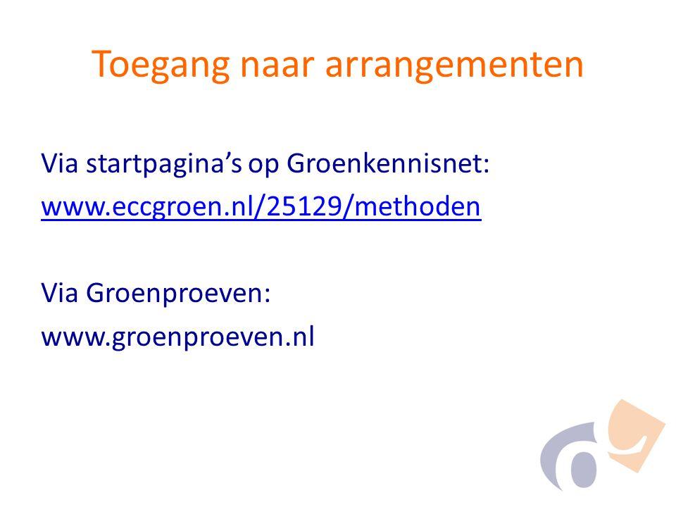 Toegang naar arrangementen Via startpagina's op Groenkennisnet: www.eccgroen.nl/25129/methoden Via Groenproeven: www.groenproeven.nl