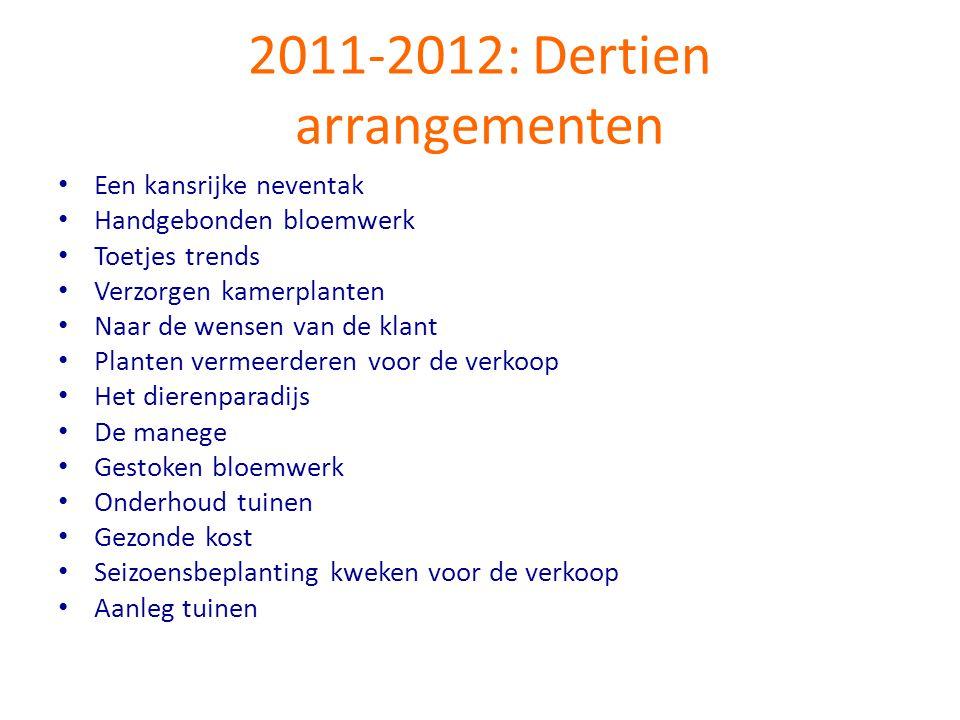 2011-2012: Dertien arrangementen • Een kansrijke neventak • Handgebonden bloemwerk • Toetjes trends • Verzorgen kamerplanten • Naar de wensen van de k